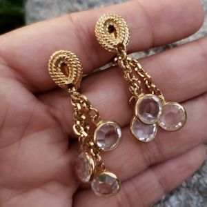 Vtg Goldette Bezel Set Crystal Dangle Earrings HTF
